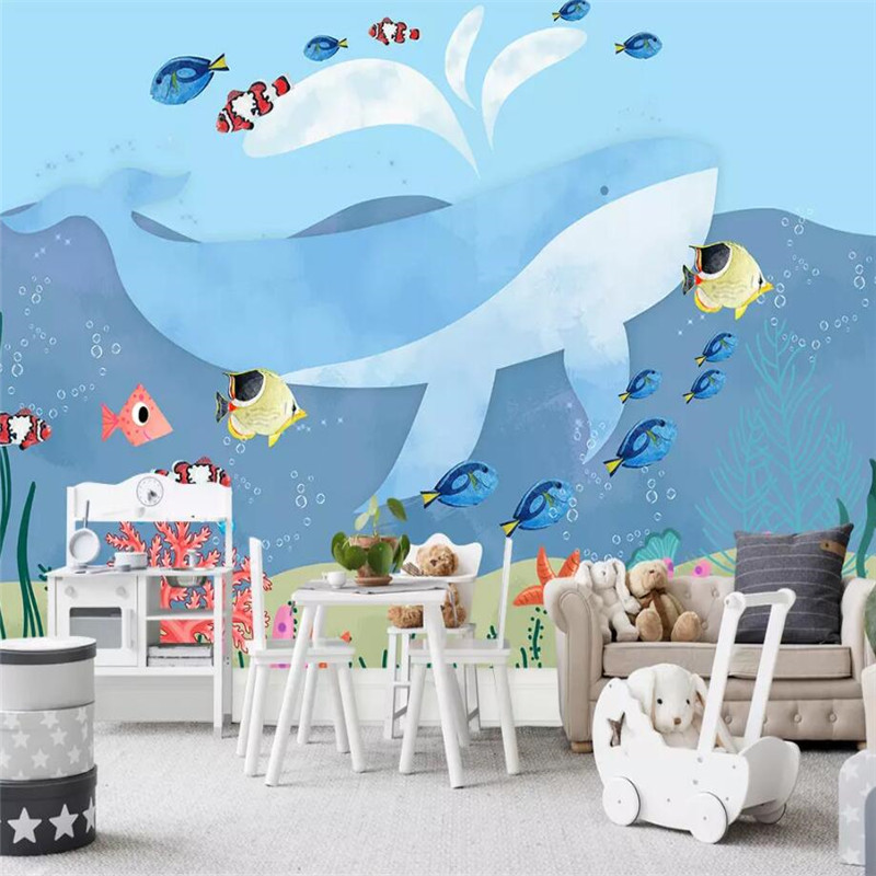 Blue Whale Children's Room Background Wall Professional Production Mural Wallpaper Wholesale Custom Poster Photo Wall