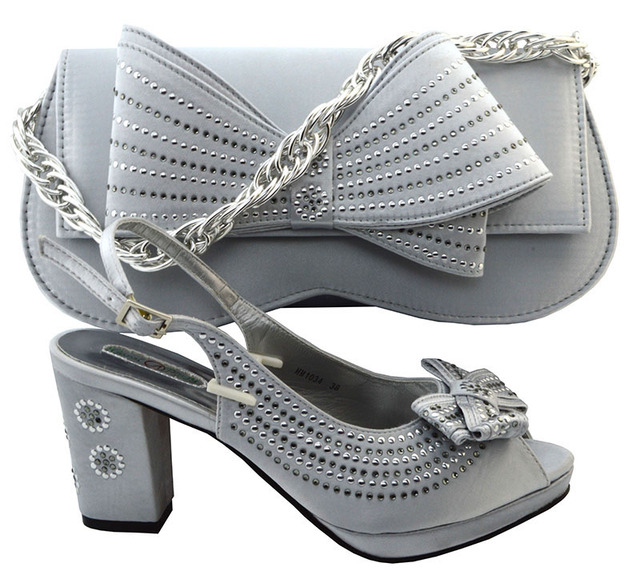 2017 High Quality Nigeria Silver Color Wedding ShoesItalian Shoes And Bags Set To Match