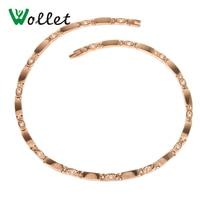 Wollet Jewelry Titanium Necklace Women Rose Gold Color CZ Stone Germanium 5 In 1 Pendant
