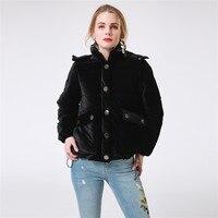 Women Velvet Winter Down Jacket Thick Hooded Black Ladies Padded Jacket Casual Short Female Outwear Warm