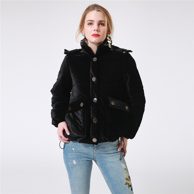 Women Velvet Winter Down Jacket Thick Hooded Black Ladies Padded Jacket  Casual Short Female Outwear Warm Coat Quilted Jacket 4XL 6417b54e03