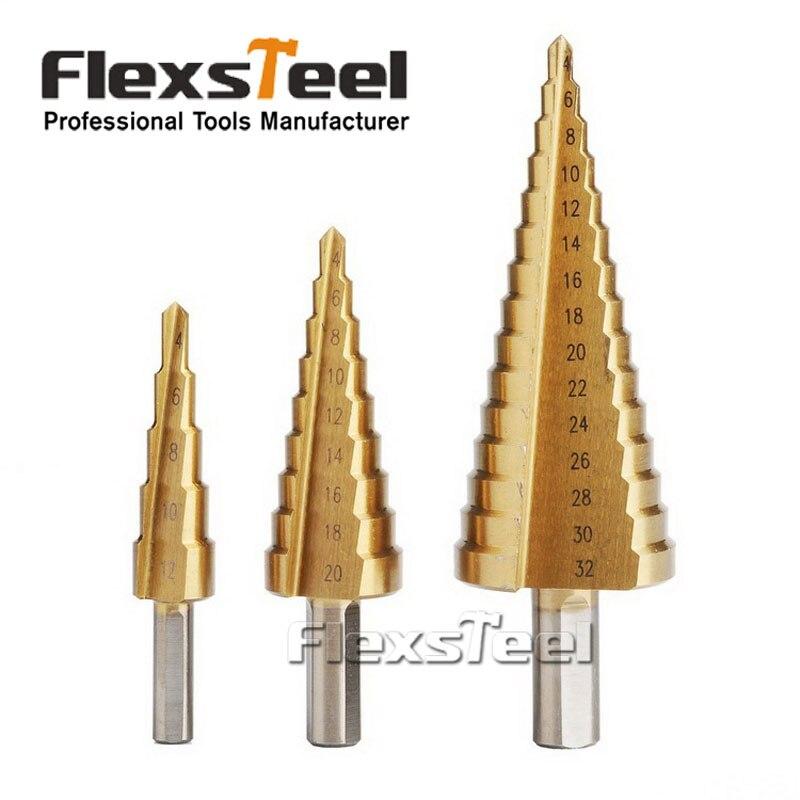 3 pz/set HSS Acciaio di Titanio Step Drill Bit Hole Cutter 4-12/20/32mm Passo Cono utensili da taglio per la Lavorazione Del Legno di Perforazione del Metallo Set