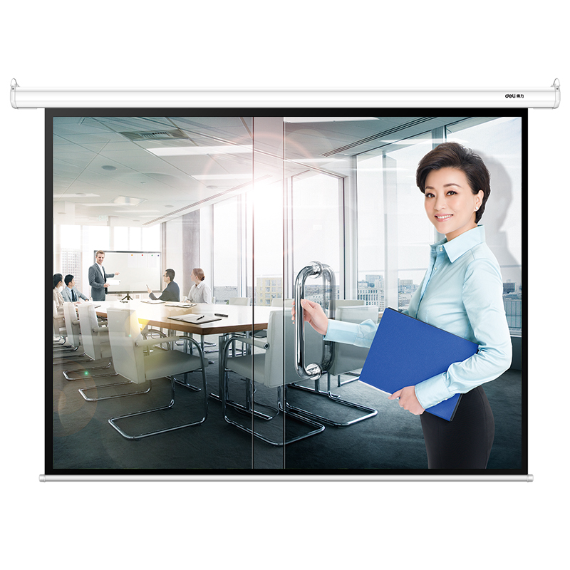Projektion Vorhang Kleine Elektrische Wand-montiert Anti-licht Hohe Definition Projektor Vorhang Für Home Office 4:3 DemüTigen Deli 50492 100