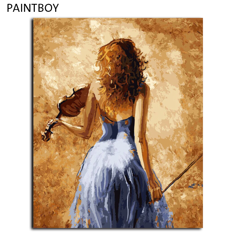Pintura al óleo enmarcada cuadros pintura por números DIY digital ...