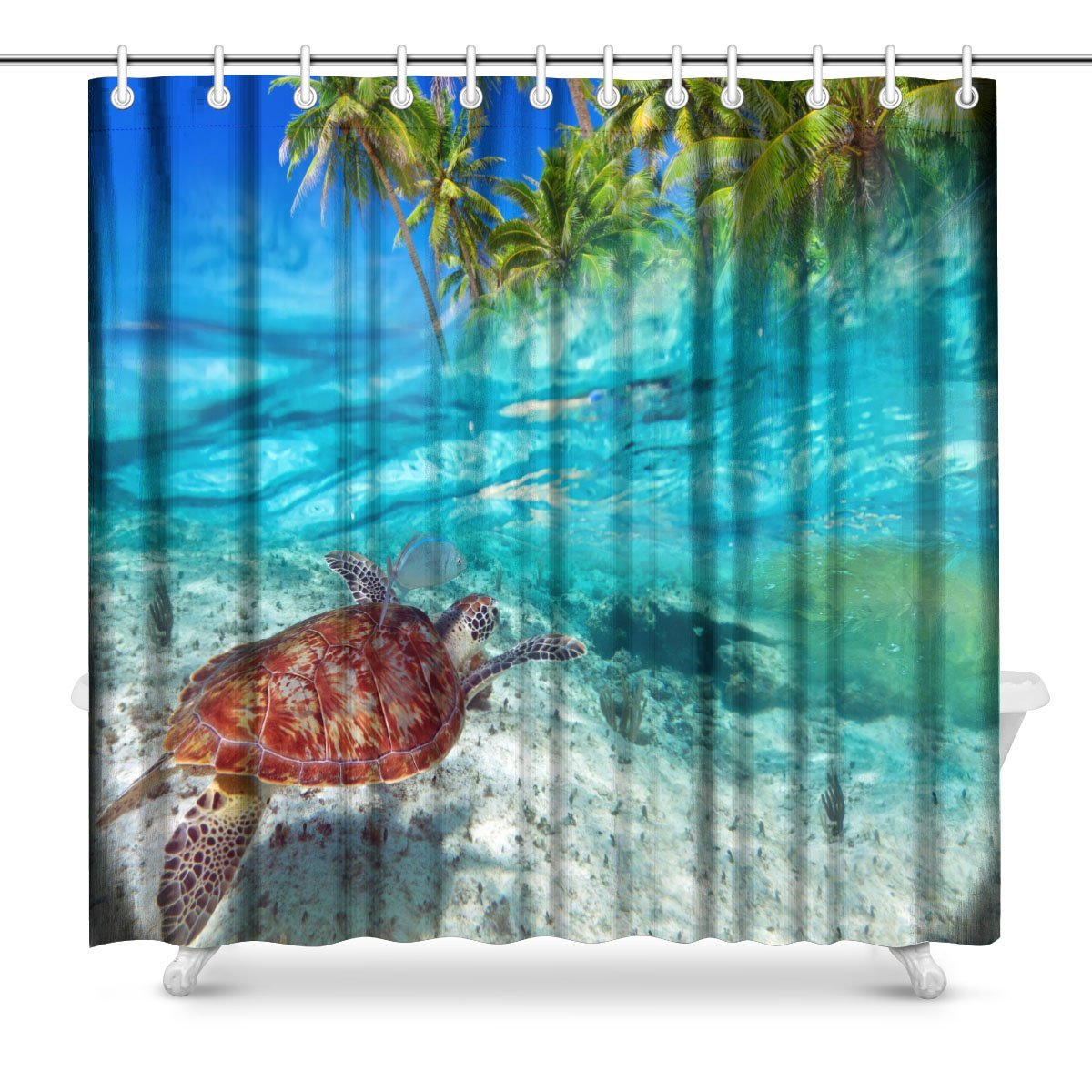 Green Turtle Swimming at Tropical Island of Caribbean Sea Art Digital Print Polyester Fabric Shower Curtain,