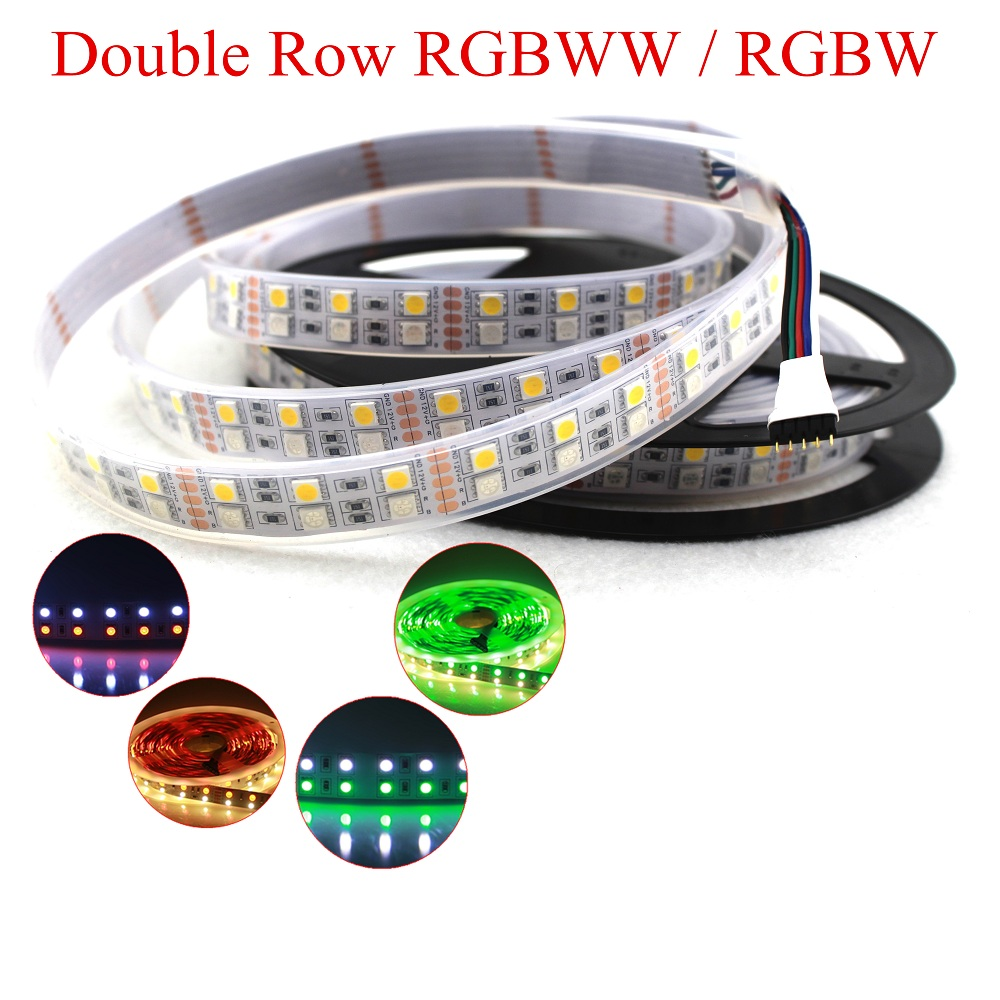 DC 12V 5M Double Row RGBW led strip RGB+ White / Warm White Flex Led tape Light waterproof IP33 IP67 5M 120leds/M 600LEDs
