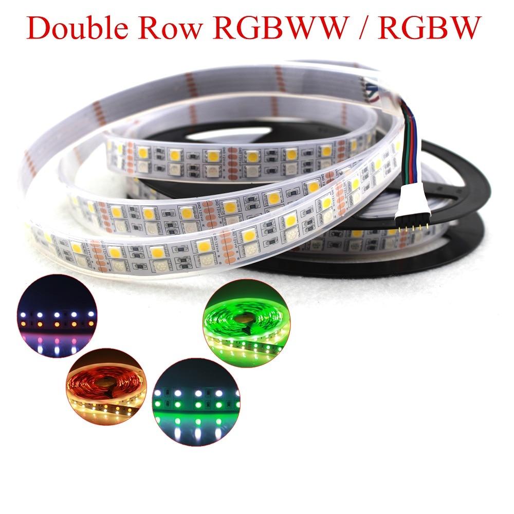 DC 12V 5M Double Row RGBW led strip RGB+ White / Warm White Flex Led tape Light waterproof IP33 IP67 5M 120leds/M 600LEDs
