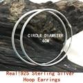 REAL!!!SILVER 925 STERLING SILVER BIG HOOP EARRINGS OUT DIAMETER 4CM /40MM FOR WOMEN GIRLS