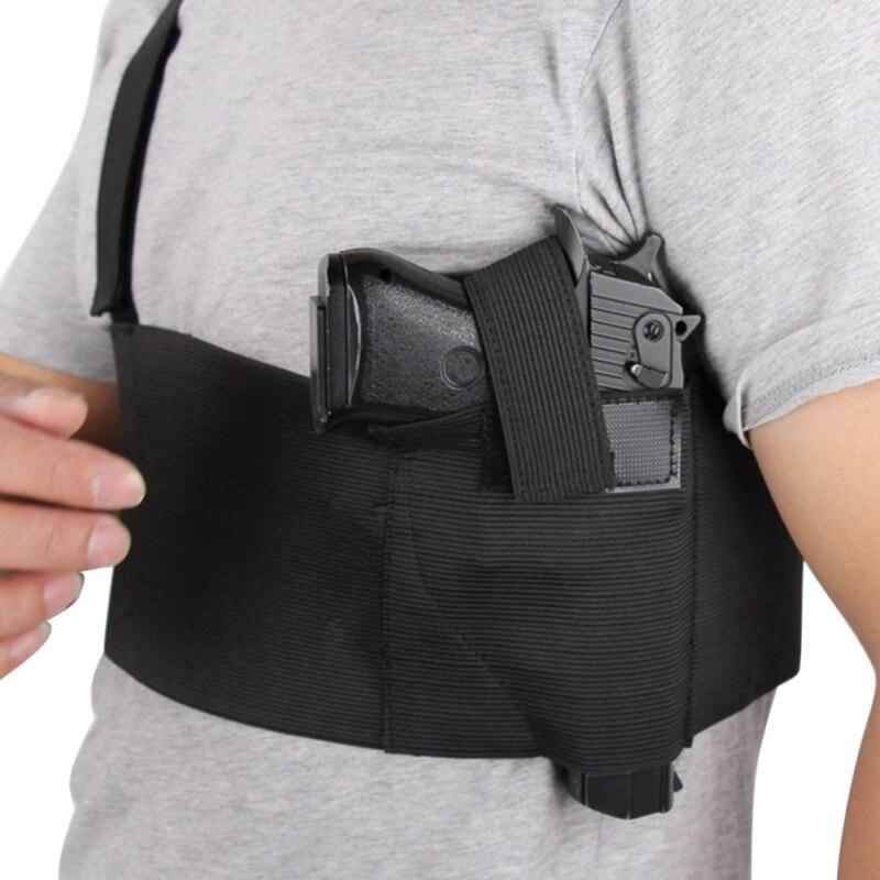 Outdoor Durable And Flexible Tactical Adjustable Belly Band Waist Pistol Gun Holster Belt Girdle