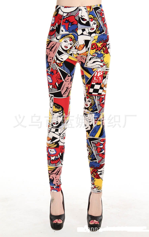 Women Comic Leggings Cartoon Printed Leggins high Stretch Girls Legging Punk Rock Leggin Disco Pants Evening Clubwear
