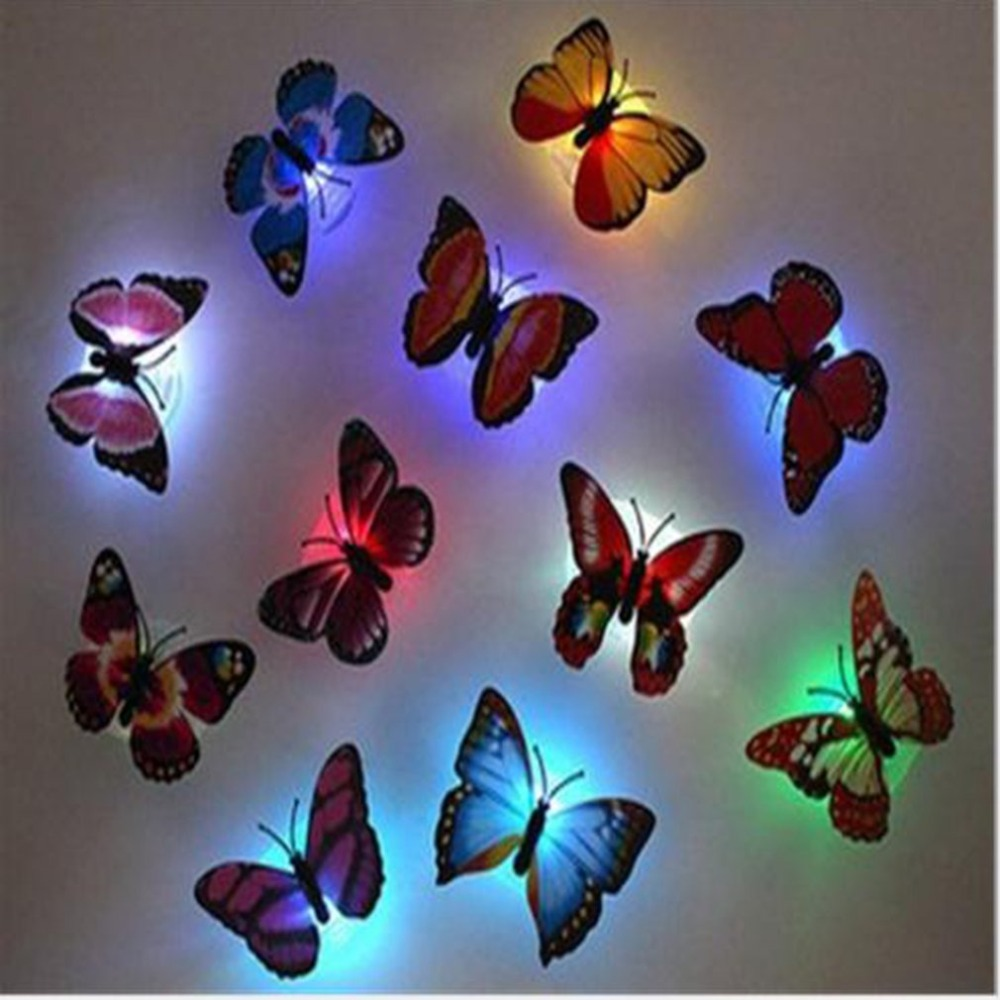 3D Colorful LED Butterfly Night Light Stereo Simulation Butterfly Party Wall Sticker Double-sided Adhesive LED Night Light Lamp