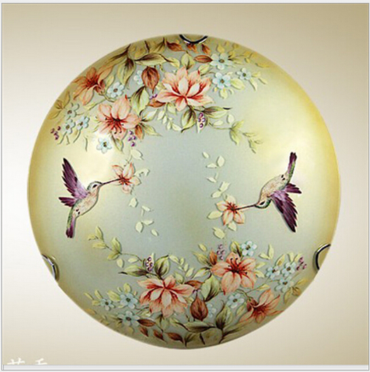 creative chinese style hand painted e27*2 30/40/50cm glass ceiling light for living room bed room kitchen aisle DY-1353 hand painted chinese style jingdezhen ceramic ceiling light for living room dining room aisle the entrance bulb included