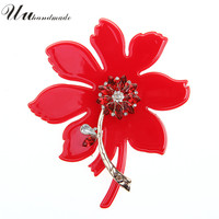 Vintage Rhinestone Poppy Broches Jewelry Women Lapel Pins Large Flower Brooch Acrylic Crystal Brooches For Women