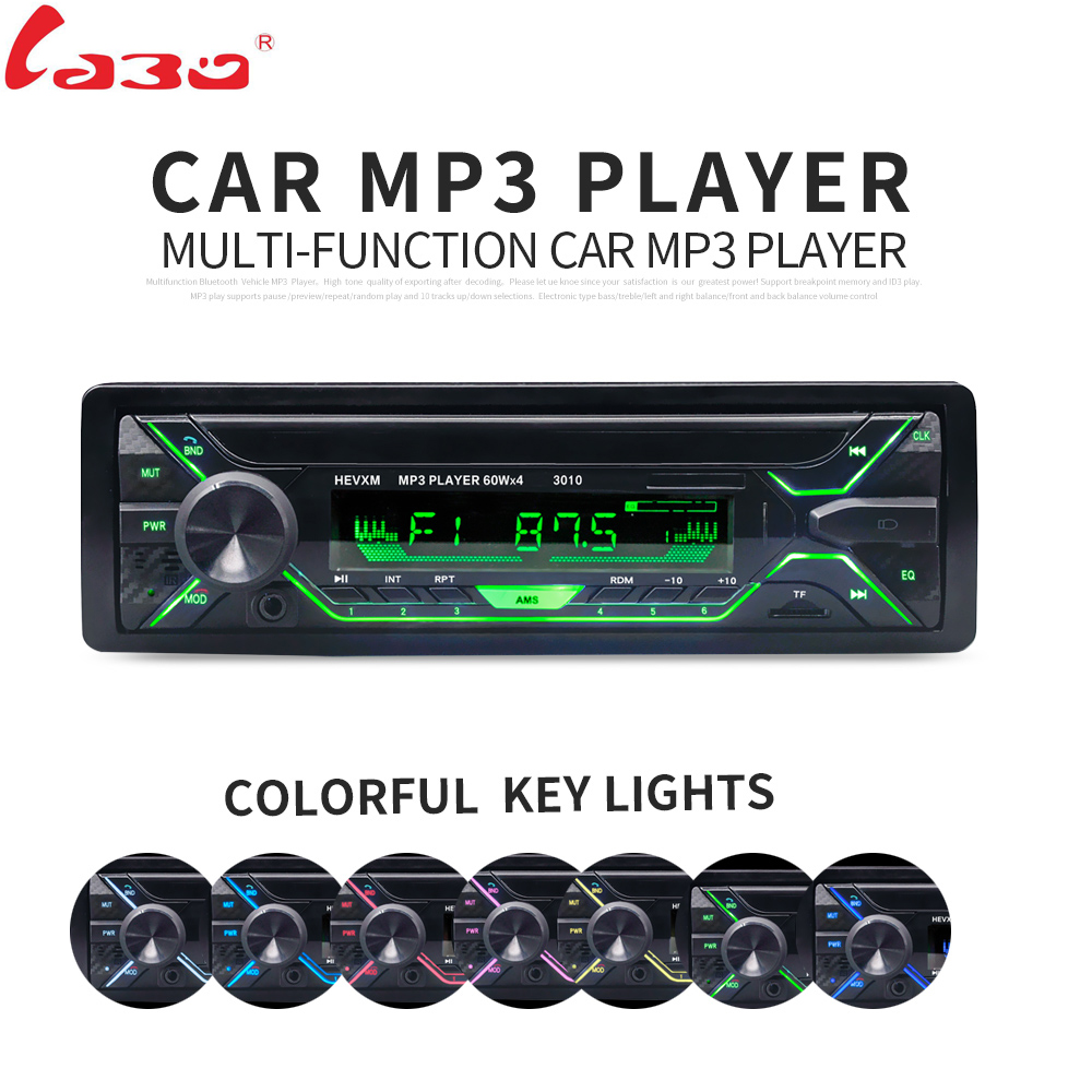 Labo coche Radios reproductor estéreo Bluetooth teléfono aux-in MP3 FM/USB/1 DIN/control remoto 12 V Reproductores de audio para el coche auto 2018 venta nuevo
