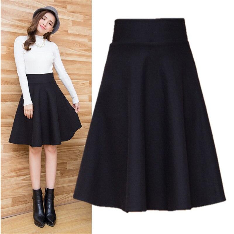 Large Size Autumn Winter Flared Skirt Pleated Midi Skirt