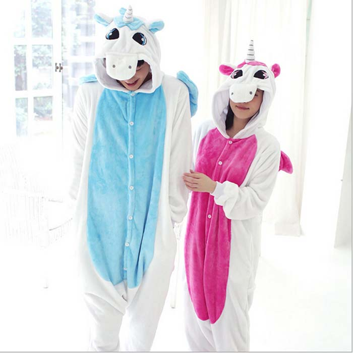 Unicorn Onesie Pyjamas Women Costumes Blue Pink Unicorn Pajamas Animal Pajamas One Piece Onesies For Adults Flannel Sleepwear
