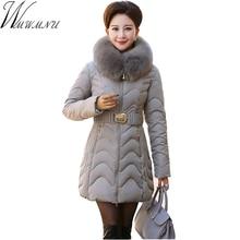 Wmwmnu Parka Women jackets winter 2016 tie waist female slim jacket fur collar parkas for women
