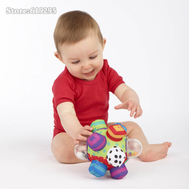Baby Fun Ball Cute Plush Soft Cloth Hand Rattles Training Grasping Ability Toy For Baby Ring Toys Education For Baby Toys music