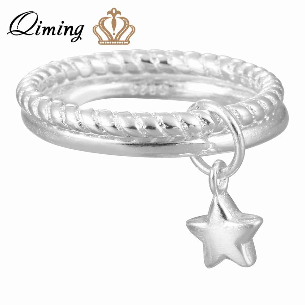 QIMING Silver Stars Pendant Double Rings for Women New Design Lovely Girls Christmas Gift Statement Jewelry Party Gift