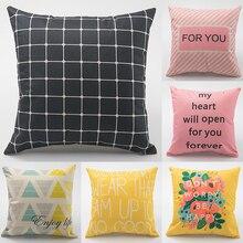 45*45cm Vintage Geometric Flower Cotton Linen Throw Pillow Case Home Soft Pillowcase Happy Birthday