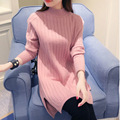 Women Turtleneck Sweater Slit Dress 2017 Full Sleeve Knitting Pullovers Female Fall Winter Half High Neck Jumper Sweater Dress