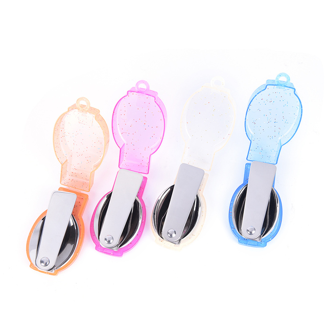 1PCS 4 Colors Camping Folding Spoon Outdoor Tableware Portable Travel Hiking Pocket Folding Spoon