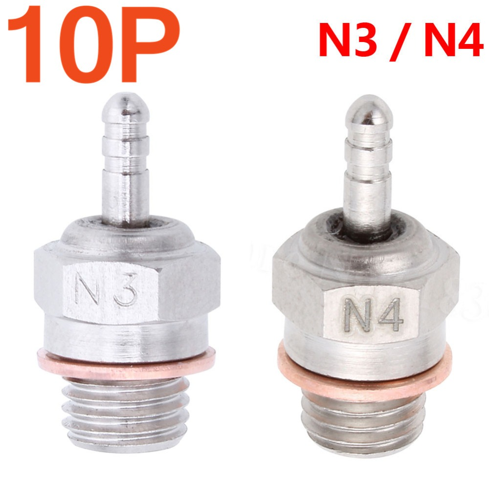 10pcs Hot / Medium Glow Plug Spark N3 3 # N4 # 4 Untuk Nitro RC Cars Engine Parts 1/8 1/10 Truck Traxxas Hpi Himoto HSP 70117