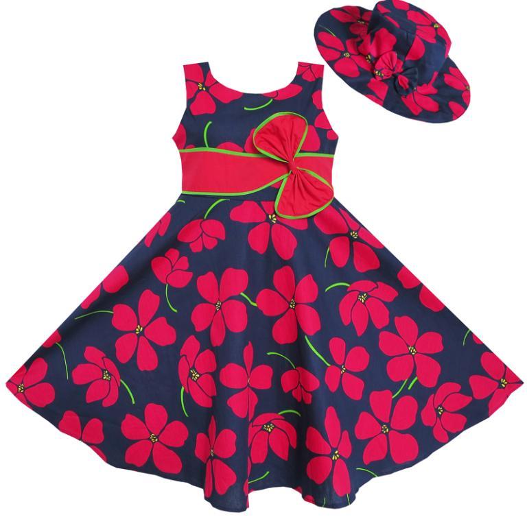 Sunny Fashion 2 Pecs Girls Dress Sunhat Bow Tie Flower Summer Beach Kids Children Clothes 4-12 Christmas Summer Princess Dresses