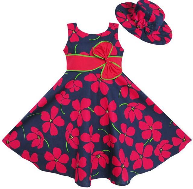 Sunny Fashion roupas infantis menina2 Pecs Sunhat Bow Tie flor do verão da praia roupa dos miúdos Crianças 4-12 festa de Natal da menina do verão princesa Vestidos