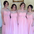 Shinning Beaded Chiffon Bridesmaid Dresses Long Crystals Pink Bridesmaid Dress Fashion Women Wedding Guest Dresses For Party B92