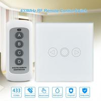 433MHz Remote Control Touch Switches Panel Light Wall Waterproof Crystal Glass 3 Gang 1 Way EU