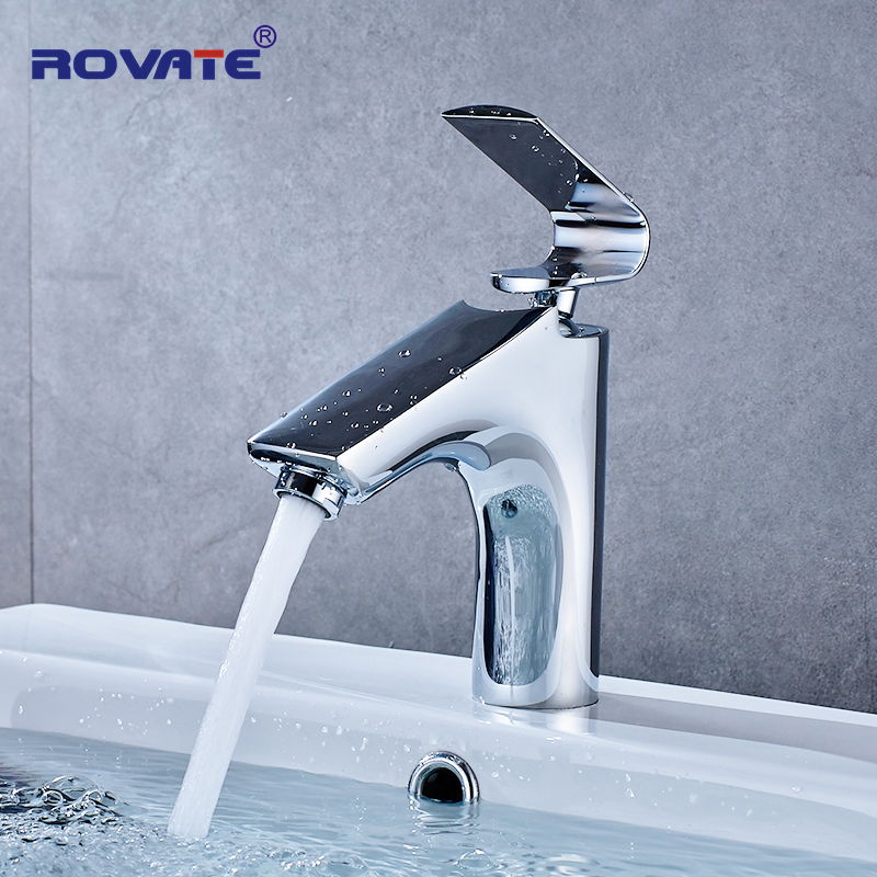 ROVATE Bathroom Vanity Sink Tap Brass Chrome Toilet Basin Faucet Single Handle Cold and Hot Mixer Water ceramic single handle bathroom vanity sink mixer tap chrome finished