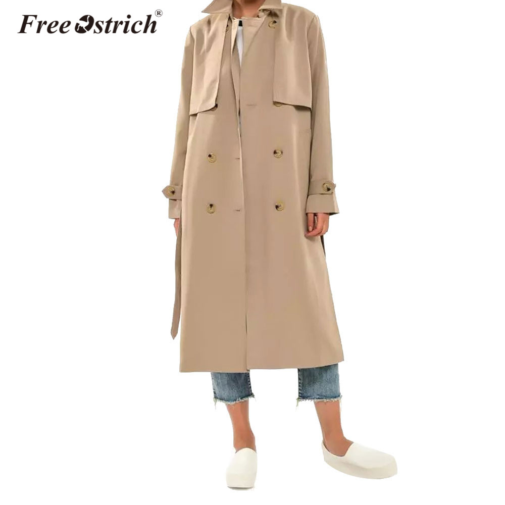 Free Ostrich Winter Autumn Women   Trench   Coat Double Breasted 2018 Casual Turn-down Collar Long Sleeve Long Coat Windbreaker Coat