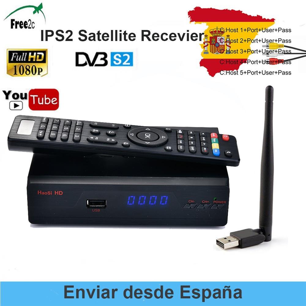 SATXTREM IPS2 Receptor DVB-S2 HD FTA Satellite TV Receiver 1 Year Europe 5 lines Clines + USB WIFI lnb Portugal Spain TV недорого