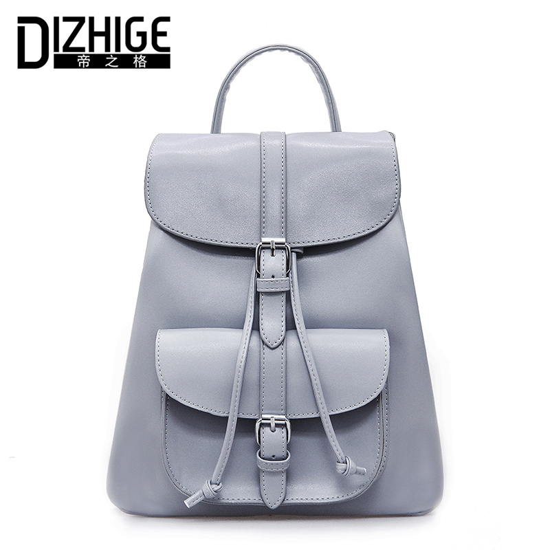 DIZHIGE Brand Famous Solid Black Women Backpack Drawstring School Backpack For Teenager Girls PU Leather Backpack