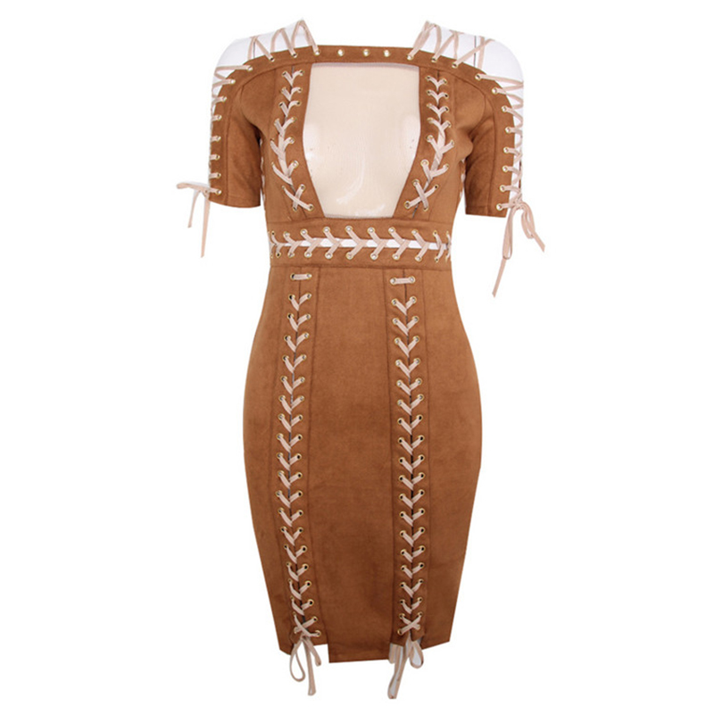 High QUALITY Paris Fashion 2017 Designer Sexy Party Dress Women s Short  Sleeve Chic Rope Lacing Up Suede Bodycon Dress-in Dresses from Women s  Clothing on ... e935b5d65c04