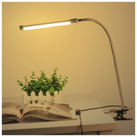 NFLC-6W 18LED 3-Level Dimmable LED Desk Lamp USB Adjustable Clip on Light Eye-Care Clamp Lamp with Switch for Reading Study Be