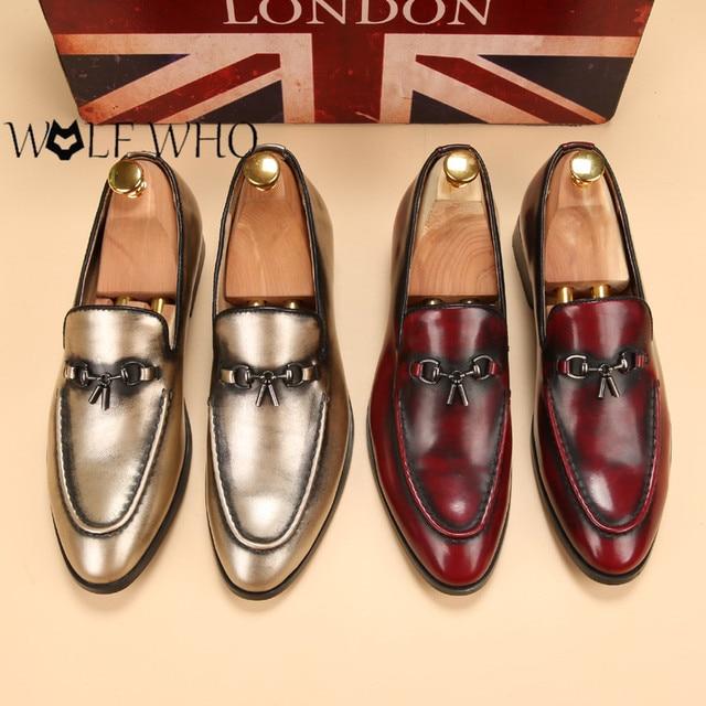 Wolfwho Merek Fashion Musim Panas Lembut Gaya Sepatu Pria Pantofel Kulit  Asli Kualitas Tinggi Sepatu Pria c24edb1aa9