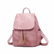 2018 European And American Fashion Womens Bag New Trend PU Leather Backpack Tassel