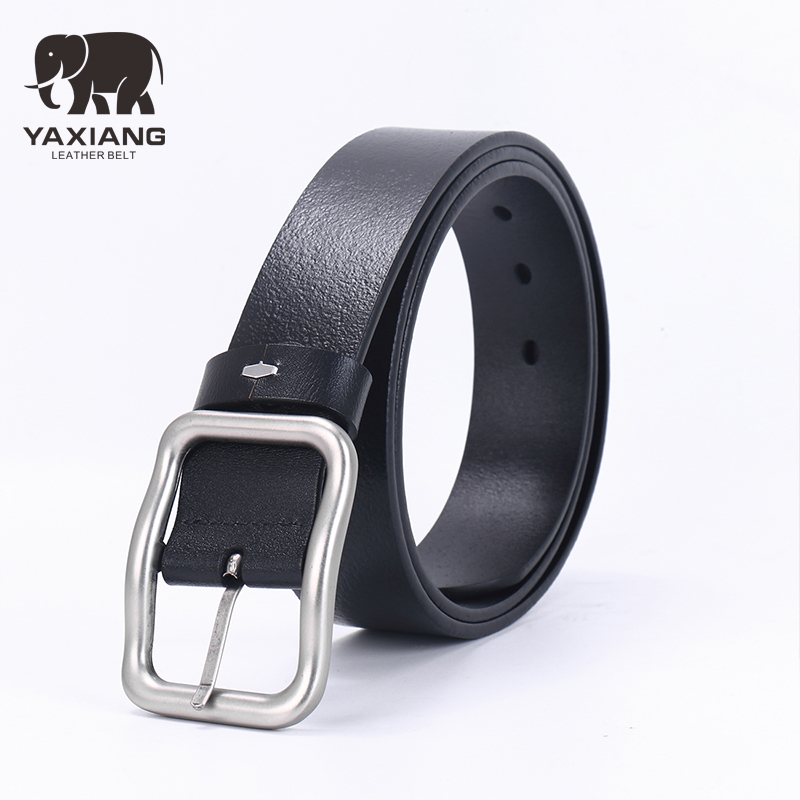 [YAXIANG] High quality genuine leather belt luxury designer belts men Jeans for man cowboy pin buckle black belt
