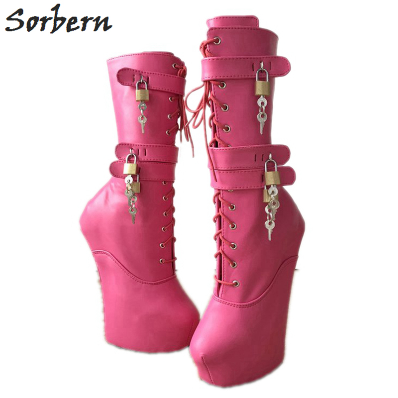 Sorbern Peach Mid Calf Boots Women Hoof Heelless Shoes Ladies Platform Heels Womens Boots With Buckles Booties For Girls trendy women s mid calf boots with splicing and buckles design