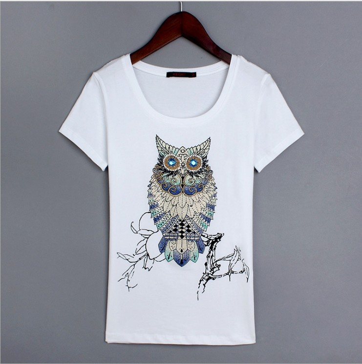 cotton tee,owl motif on front of t shirt Ladies owl t-shirt