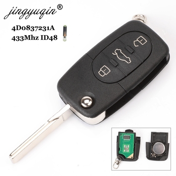 Jingyuqin 4D0837231A 433Mhz ID48 3 przycisk kluczyk samochodowy z pilotem dla AUDI składane z klapką Chip dla A3 A4 A6 A8 stare modele tanie i dobre opinie Chip ID 46 Key Remote Control ABS + Metal + Circuit board China For Audi