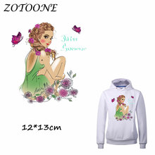 ZOTOONE Iron on Stickers Patches for Clothes Butterfly Flower Girl Patch DIY Accessory Heat Transfer Appliques C