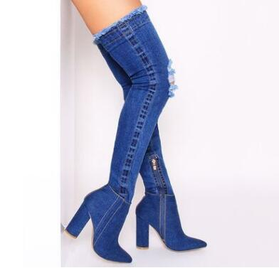 Hongyi Runway denim blue over the knee boots sexy open toe high heel boots woman thigh high boots thin heels jeans boots new 2018 spring fashion ripped jeans boots sexy pointed toe distress denim high heel boots over the knee woman boots