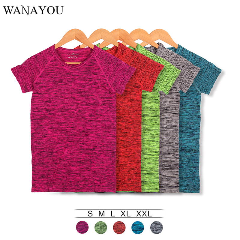 WANAYOU Women Quick Dry Sport Shirt,Professional Short Sleeve Breathable Exercises Fitness Top T-Shirts For Yoga Running