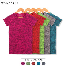 WANAYOU Женская быстросохнущая спортивная рубашка, профессиональная дышащая футболка с коротким рукавом для занятий фитнесом и упражнений, футболки для йоги и бега