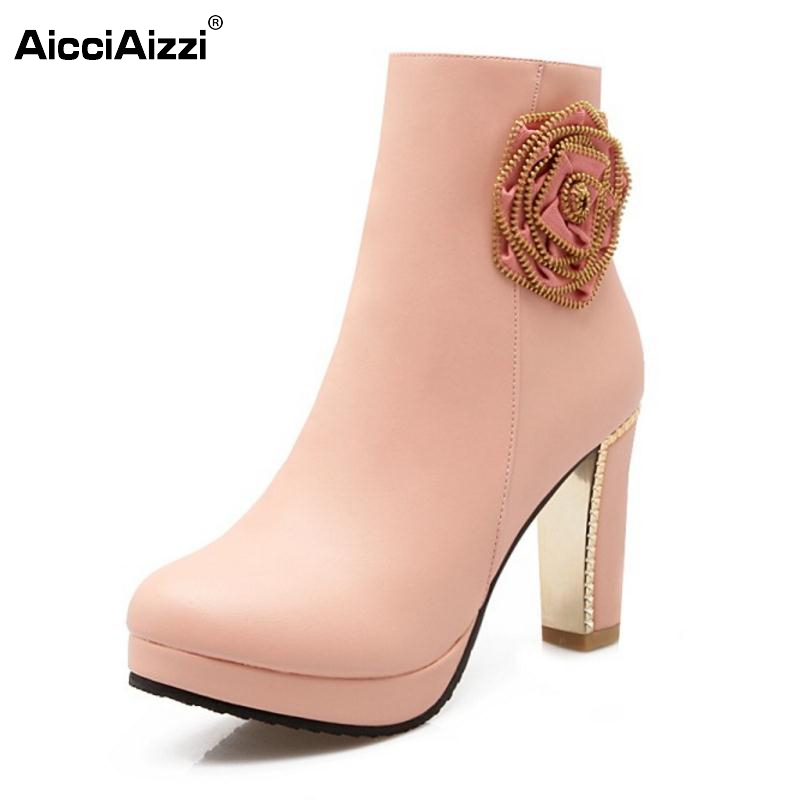 Women Less Platform Thick Heel Ankle Boots Woman Round Toe Zipper Botas Mujers Sexy Flower High Heels Shoes Size 31-43 women platform square high heel ankle boots fashion side zipper round toe shoes woman black white beige