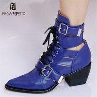 Prova Perfetto Новый ботильоны для женщин высокие каблуки женские туфли на шнуровке с пряжкой острый носок короткие сапоги Дамская обувь