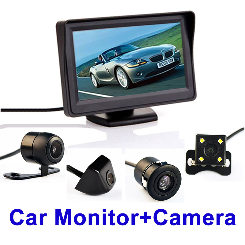 CN Auto Shop 4.3 Inch Auto Parking System HD Car Rearview Mirror Monitor with 170 Degrees Waterproof for rear view camera